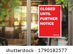 Small photo of Various shops stick to the poster. closed until further notice from the government due to the COVID 19 coronavirus epidemic. restaurants, cafes, bars, clubs are all closed due to the domestic economy.
