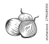 whole and half red onion bulbs... | Shutterstock .eps vector #1790189354