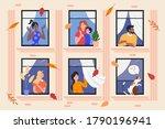 people in facade building... | Shutterstock .eps vector #1790196941