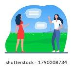 women keeping social distance.... | Shutterstock .eps vector #1790208734