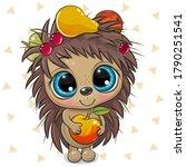 cute cartoon hedgehog with...   Shutterstock .eps vector #1790251541