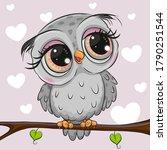 cute cartoon gray owl is... | Shutterstock .eps vector #1790251544