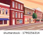 street of town cartoon... | Shutterstock .eps vector #1790256314