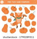 find two same pumpkins. autumn... | Shutterstock .eps vector #1790289311