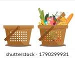 shopping basket full of healthy ... | Shutterstock .eps vector #1790299931