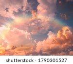 Rainbow At Blue Pink Sunset Sky ...