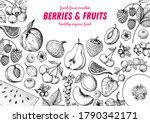 berries and fruits sketch... | Shutterstock .eps vector #1790342171
