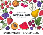 berries and fruits drawing... | Shutterstock .eps vector #1790342687