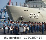 The indonesian navy marching...