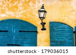 Stone Wall With Lantern And...