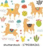 pattern with cute llamas.... | Shutterstock .eps vector #1790384261