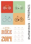 colorful bike calendar  | Shutterstock .eps vector #179039621
