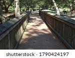 A Long Nice Wooden Bridge In...