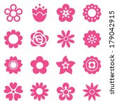 set of flat flower icons in... | Shutterstock .eps vector #179042915