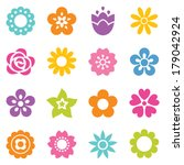 Stock vector set of flat icon flower icons in silhouette isolated on white cute retro design in bright colors 179042924