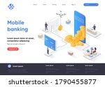 mobile banking isometric...