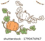 halloween pumpkins and vines.... | Shutterstock .eps vector #1790476967