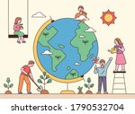 people around the big globe are ... | Shutterstock .eps vector #1790532704