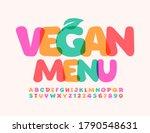 vector template vegan menu with ... | Shutterstock .eps vector #1790548631