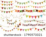 watercolor style autumn garland ... | Shutterstock .eps vector #1790573321