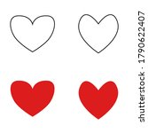 heart icon set  red and outline ...