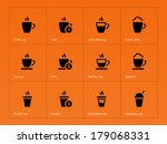 coffee cup icons on orange....