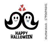 cute ghosts in love and boo... | Shutterstock .eps vector #1790694641