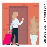 traveler woman with suitcase...   Shutterstock .eps vector #1790696147