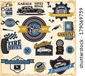 set of retro vintage car labels | Shutterstock .eps vector #179069759