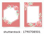 watercolor red peony with frame ... | Shutterstock .eps vector #1790708501