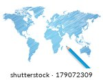 colored pencil world map vector ... | Shutterstock .eps vector #179072309