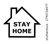 stay at home text with home icon   Shutterstock . vector #1790726477