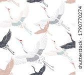 Japanese Stork Crane Vector...