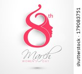 Happy Women's Day celebrations concept with stylish pink text and illustration of a girl face on grey background.