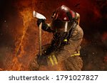 Brave Firefighter Surrounded By ...