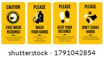 yellow caution cards. face mask ... | Shutterstock .eps vector #1791042854