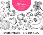 berries and fruits drawing... | Shutterstock .eps vector #1791056627