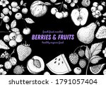 berries and fruits drawing... | Shutterstock .eps vector #1791057404