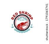 seafood restaurant shrimp logo... | Shutterstock .eps vector #1791065741