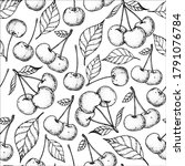 seamless pattern with cherries  ... | Shutterstock .eps vector #1791076784
