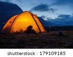 illuminated tent in lapland   Shutterstock . vector #179109185