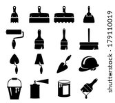 set of icons of tools on white...