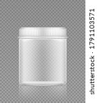 empty transparent plastic jar... | Shutterstock .eps vector #1791103571