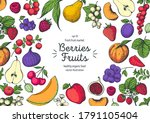 berries and fruits drawing... | Shutterstock .eps vector #1791105404