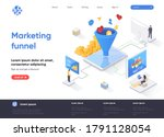 marketing funnel isometric...