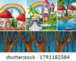 four different scene of fantasy ...   Shutterstock .eps vector #1791182384