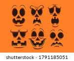 halloween pumpkin faces with... | Shutterstock .eps vector #1791185051