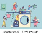 little people are doing laundry ... | Shutterstock .eps vector #1791193034