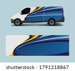 cargo van decal with green wave ... | Shutterstock .eps vector #1791218867