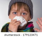 boy wiping his nose | Shutterstock . vector #179123471